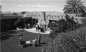 The Inner Courtyard at Hacienda Del Sol Guest Ranch Resort in the 1950's